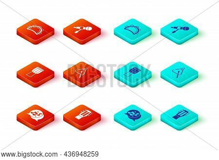 Set Music Note, Tone, Guitar, Drum, Triangle, Microphone And Tambourine Icon. Vector