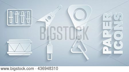 Set Audio Jack, Guitar Pick, Drum, Triangle, Electric Bass Guitar And Sound Mixer Controller Icon. V