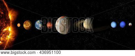 Solar System Planet, Comet, Sun And Star.sun, Mercury, Venus, Planet Earth, Mars, Jupiter, Saturn, U