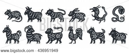 Traditional Chinese Zodiac Illustrations. Set Of All 12 Zodiac Animals For Chinese New Year Celebrat
