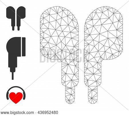 Web Carcass Compact Earphones Vector Icon, And Original Icons. Flat 2d Carcass Created From Compact