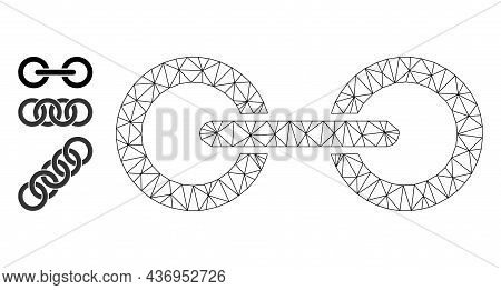 Web Net Chain Link Vector Icon, And Other Icons. Flat 2d Carcass Created From Chain Link Pictogram.
