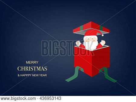 Merry Christmas And Happy New Year. Open Gift Box And Santa Claus Inside On Blue Background. Vector