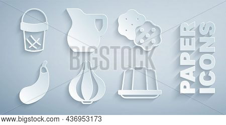 Set Garlic, Cracker Biscuit, Eggplant, Jelly Cake, Jug Glass With Milk And Ice Cream In Waffle Icon.