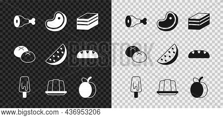 Set Chicken Leg, Steak Meat, Piece Of Cake, Ice Cream, Jelly, Plum Fruit, Bread Loaf And Watermelon