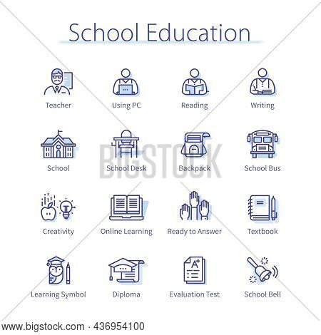 Primary School Education Set. Teacher And Student