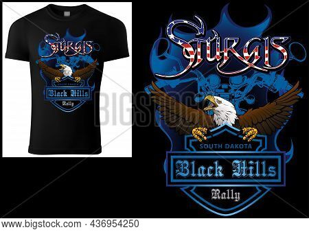 Black T-shirt Print Design Sturgis With Bald Eagle And Blue Coat Of Arm And Blue Motorcycle Drawing