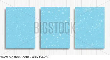 Set Of Winter Snowfall And Snowflakes On Light Blue Background. Hand Drawn Snow Pattern. Doodle Cold