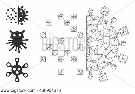 Web Mesh Digital Virus Construction Vector Icon, And Other Icons. Flat 2d Carcass Created From Digit