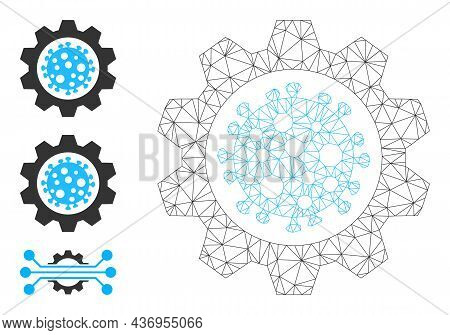 Web Carcass Virus Gear Vector Icon, And Source Icons. Flat 2d Carcass Created From Virus Gear Pictog