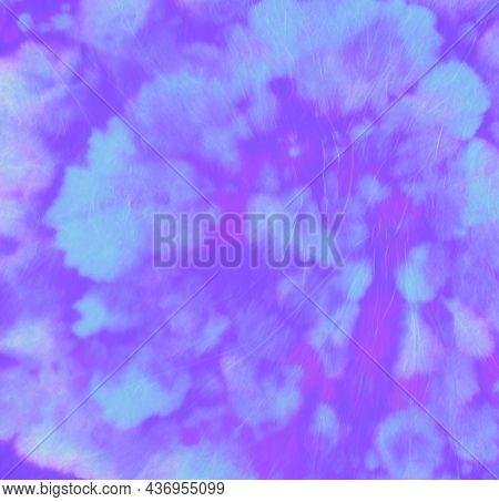 Purple Hippie Shirt. Abstract Swirl Patterns. Batik Fabric. Spiral Grunge Effect. Artistic Light Tex
