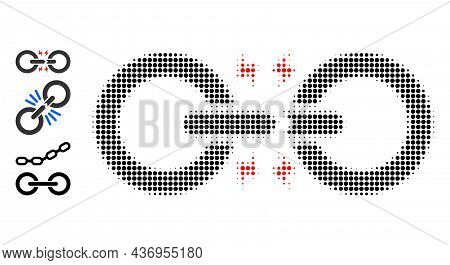 Dotted Halftone Broken Chain Link Icon, And Original Icons. Vector Halftone Mosaic Of Broken Chain L