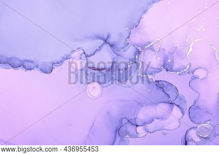 Purple Liquid Paint. Grey Gray Acrylic Ink Background. Abstract Marble Effect. Modern Liquid Paint W