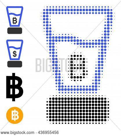 Pixelated Halftone Bitcoin Mixer Icon, And Source Icons. Vector Halftone Pattern Of Bitcoin Mixer Ic