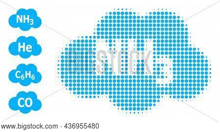 Dot Halftone Ammoniac Cloud Icon, And Bonus Icons. Vector Halftone Pattern Of Ammoniac Cloud Icon Co