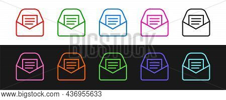 Set Line Mail And E-mail Icon Isolated On Black And White Background. Envelope Symbol E-mail. Email
