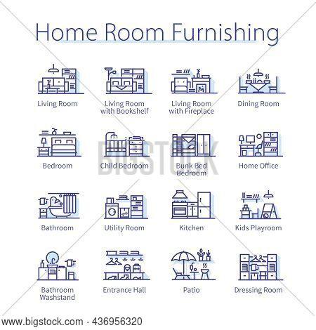 Home Room Furnishing Pack. Kitchen, Living Room