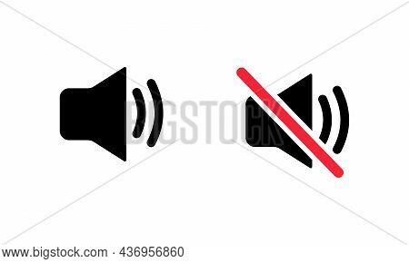 Speaker Volume Icons. Sound And Mute Icons Set. Voice, Audio, Speaker Symbol. Black Solid Vector Ico