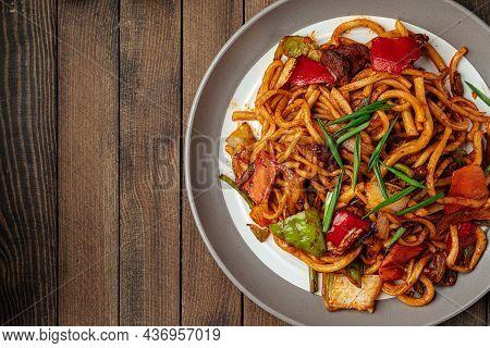 Portion Of Oriental Dish Tsomyan Roasted Noodles