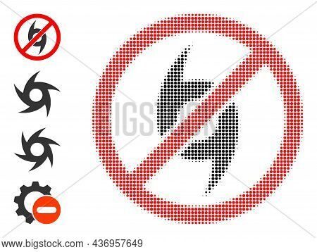 Dotted Halftone Stop Cyclone Icon, And Source Icons. Vector Halftone Pattern Of Stop Cyclone Icon Co