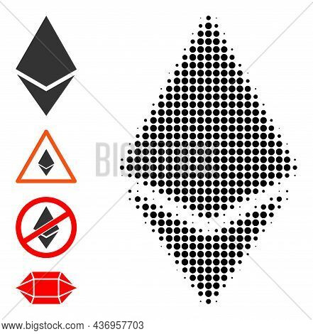 Pixel Halftone Ethereum Crystal Icon, And Additional Icons. Vector Halftone Collage Of Ethereum Crys