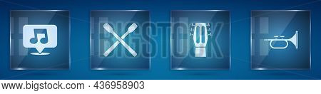 Set Music Note, Tone, Drum Sticks, Guitar And Trumpet. Square Glass Panels. Vector