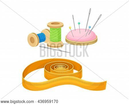 Sewing Tools Set. Thread Bobbins, Needles And Measuring Tape Tailoring Supplies Vector Illustration