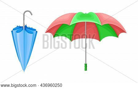 Closed And Open Umbrella As Waterproof Protective Accessory For Rainy Weather Vector Set
