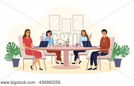 People At Table. Business Conference, Meeting Of Board Of Directors. Employees Working On One Projec
