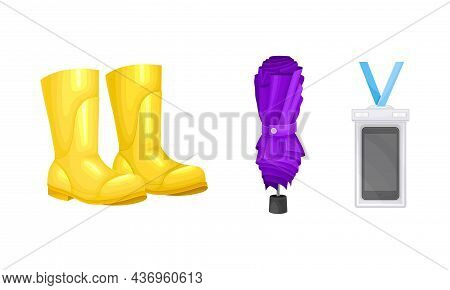 Rubber Boots And Umbrella As Waterproof Protective Accessory For Rainy Weather Vector Set