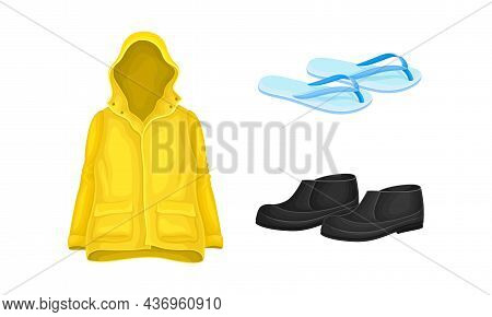 Yellow Raincoat With Hood And Overshoes As Waterproof Protective Wear For Rainy Weather Vector Set