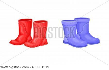 Pair Of Red And Blue Rubber Boots For Walking Outside In Rainy Weather Vector Set