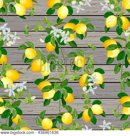 Pattern With Lemons On A Wooden Background.branches With Lemons And Flowers On A Wooden Background I