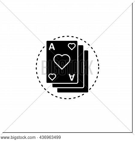 Card Game Glyph Icon. Deck Of Game Cards. Gambling. Interesting Gameplay Process. Online Game Concep