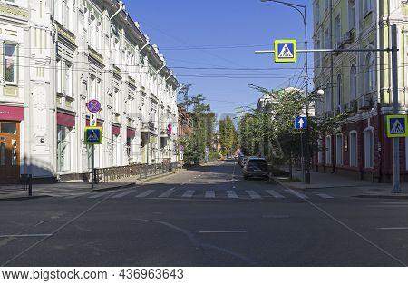 Irkutsk, Russia - August , 2021: A Quiet Street In The Center Of Irkutsk:  A View Along The Street O