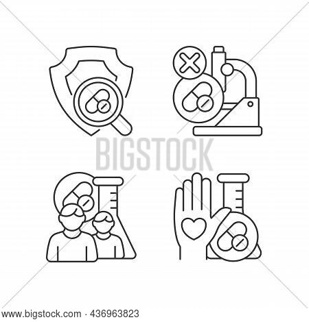 Clinical Research Facility Linear Icons Set. Failed Project. Mams Approach. Human Volunteer. Customi