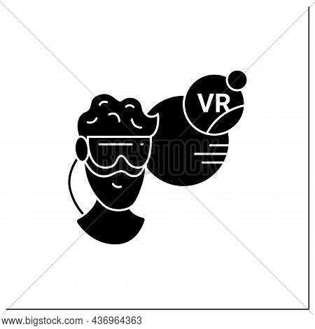 Vr Headset Glyph Icon. Man Looking Into 3d Perspective. Having Headset Computer. Virtual Reality Gam