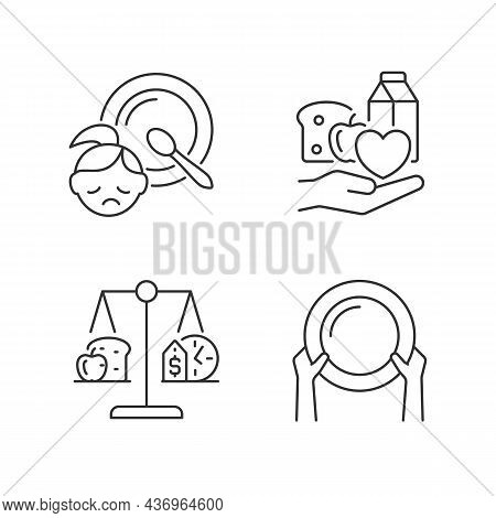 Helping People In Need Linear Icons Set. Food Donation. Poverty And Hunger. Nutrition Stability. Cus