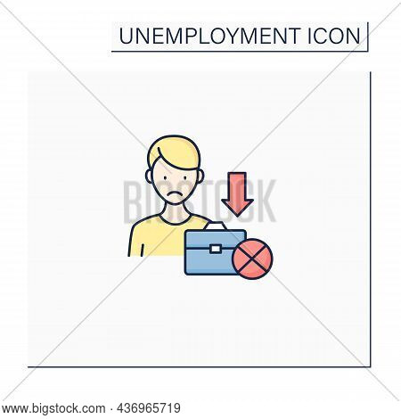 Jobless Color Icon. Fired Worker. Upset Man Lost Job. Staff Reduction.unemployment Concept. Isolated