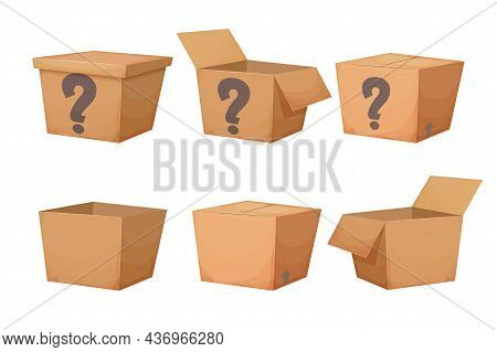 Set Mystery Cardboard Box With Question, Closed Present In Cartoon Style Isolated On White Backgroun