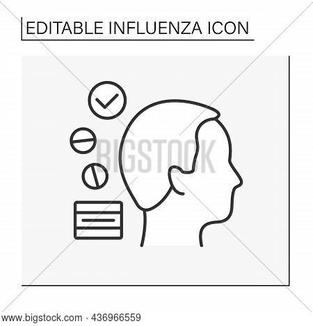 Treatment Line Icon. Medications For Headache Relief, Elimination Of Migraine Symptoms And Complete