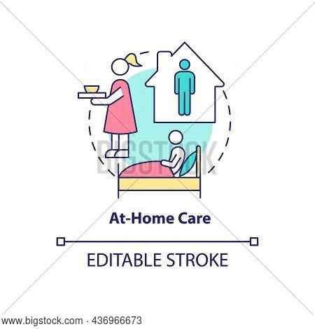 At Home Care Concept Icon. Pneumonia Treatment Abstract Idea Thin Line Illustration. Home Quarantine