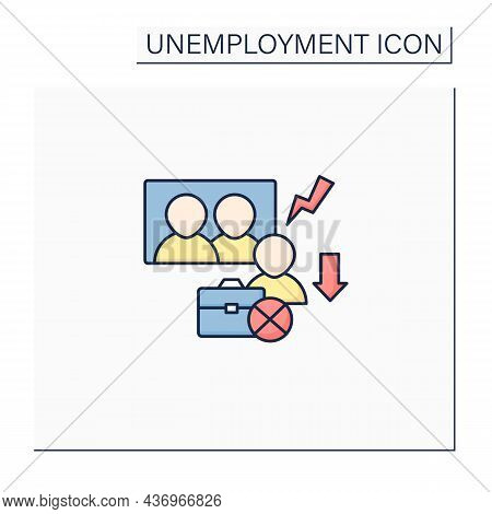 Downsizing Color Icon.company Labor Force Reduction.unproductive Workers Elimination. Fired Worker.
