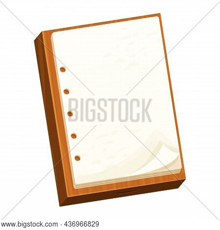 Checklist On A Wooden Board Note Paper, To Do Work In Cartoon Style Isolated On White Background. Su