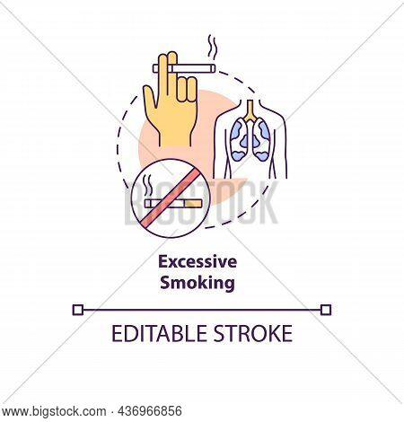 Excessive Smoking Concept Icon. Pneumonia Risk Factor Abstract Idea Thin Line Illustration. Harmful