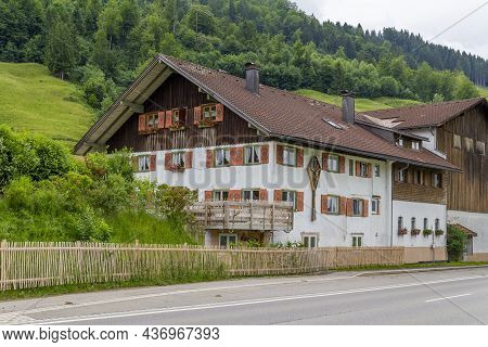 Traditional Building Around Immenstadt, A Town In The Upper Allgaeu In Bavaria, Germany