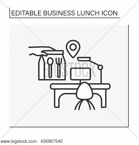 Delivery Line Icon. Fast Food Delivery. Lunch Time At Work. Office With Table And Laptop. Business L