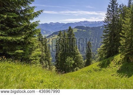 Idyllic Scenery Around The Immenstaedter Horn, A Mountain In The Upper Allgaeu In Bavaria, Germany