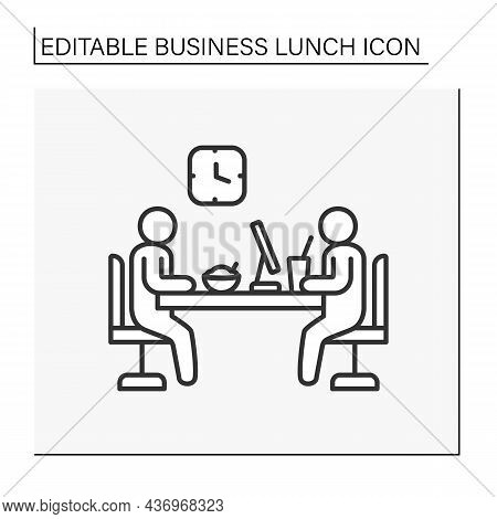 Meeting Line Icon. Working Meeting At Lunch Time. Communication Between Workers. Business Lunch Conc