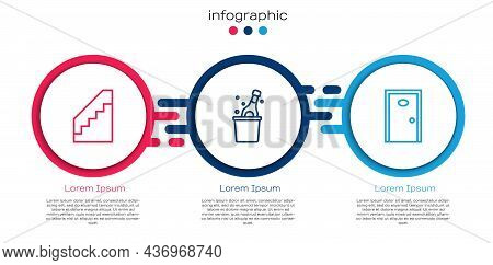 Set Line Stairs, Bottle Of Champagne And Hotel Door. Business Infographic Template. Vector